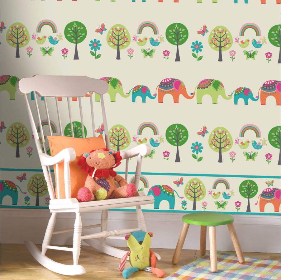 Wallpaper from b&Q from a colourful children's nursery