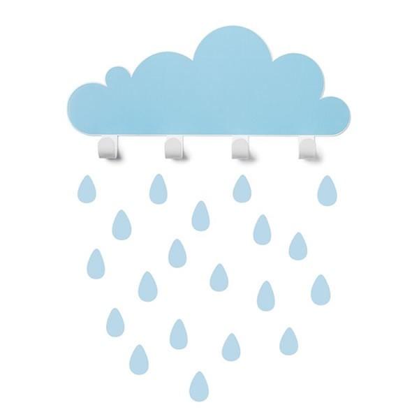 Tresxics Cloud Wall Hook & Raindrops - Blue - Lullaby.co.uk