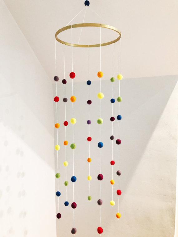 Rainbow Felt Ball Cot Mobile - unisex nursery decoration - Etsy