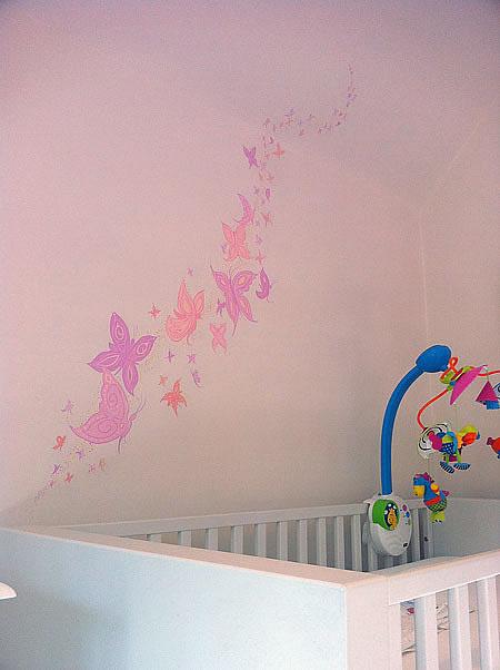 butterfly nursery mural - colourful nursery ideas