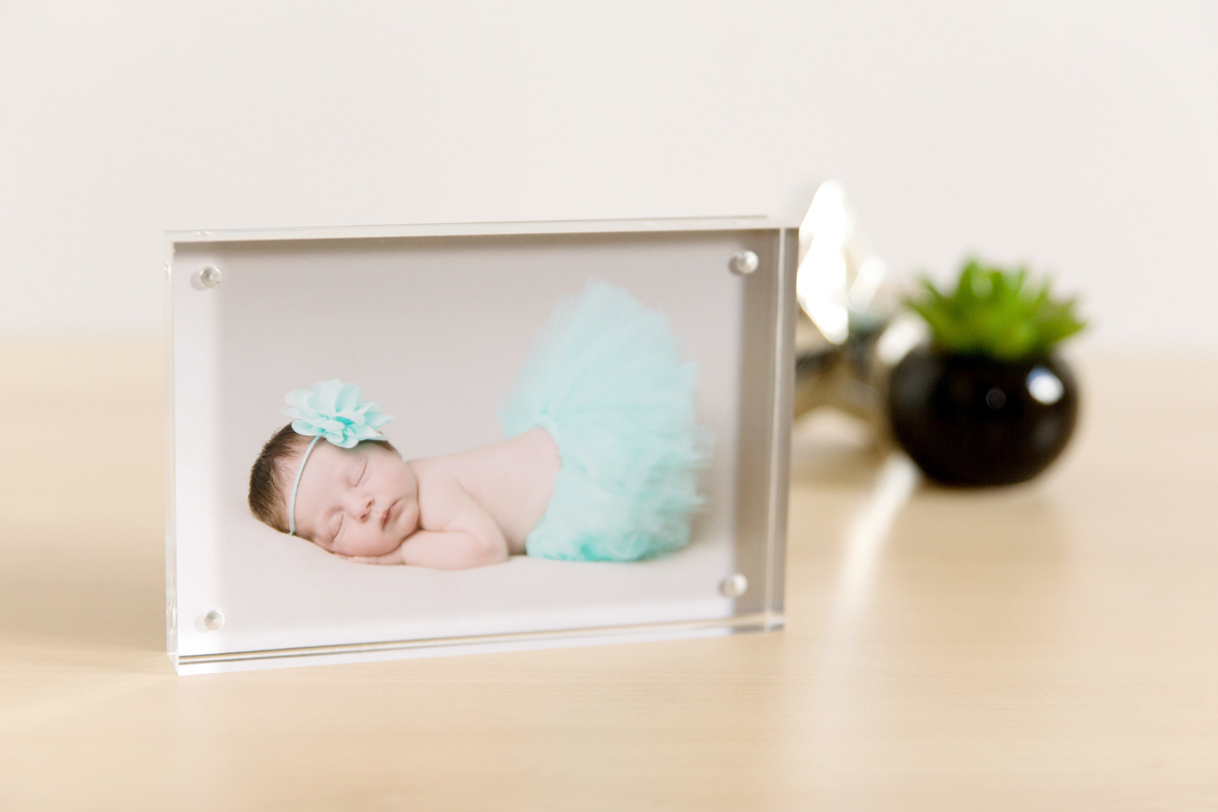 acrylic block for a desk display with newborn baby photo taken by becki williams photography