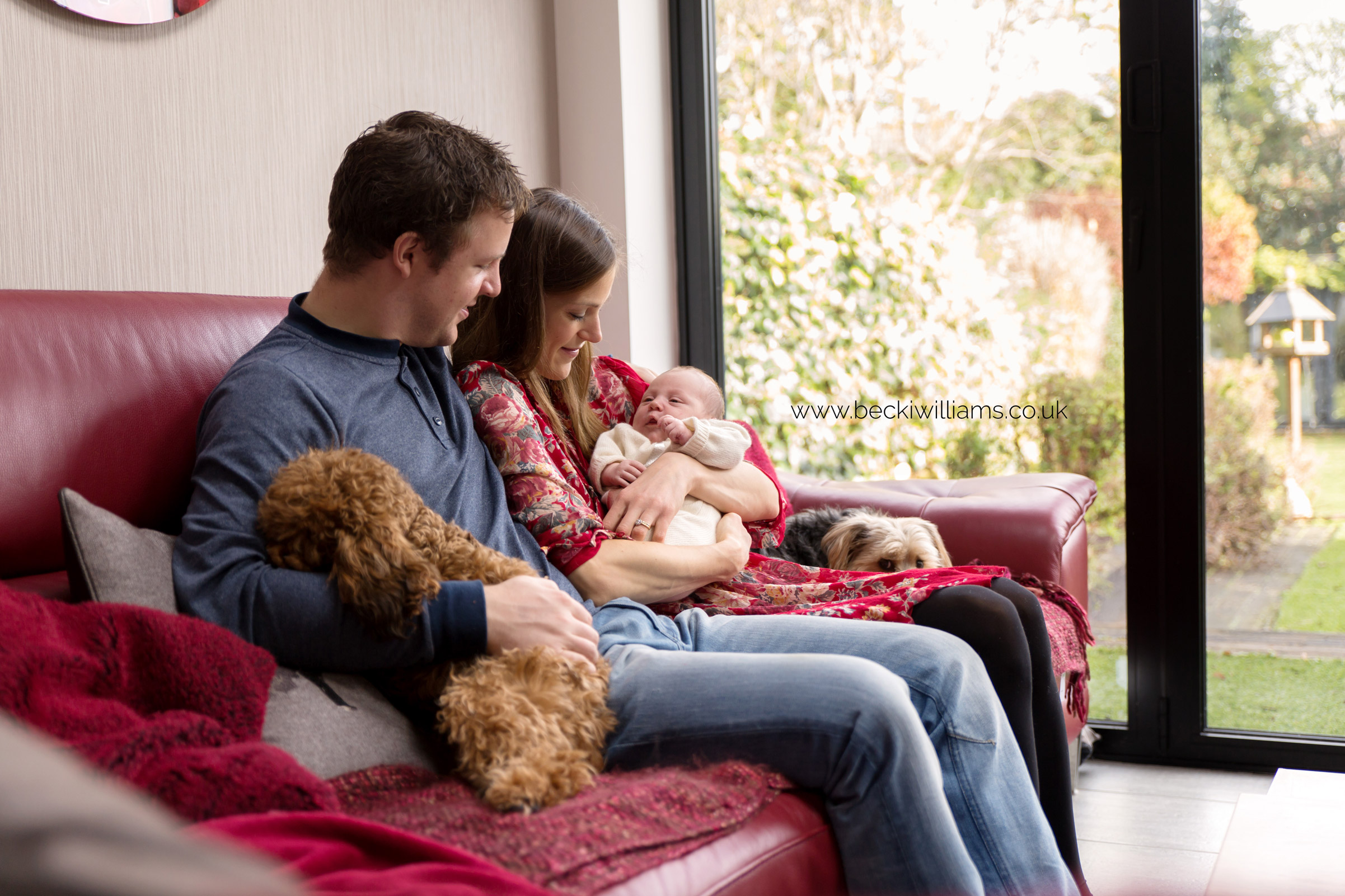 mum, dad, newborn baby and two dogs sitting on the sofa in their living room