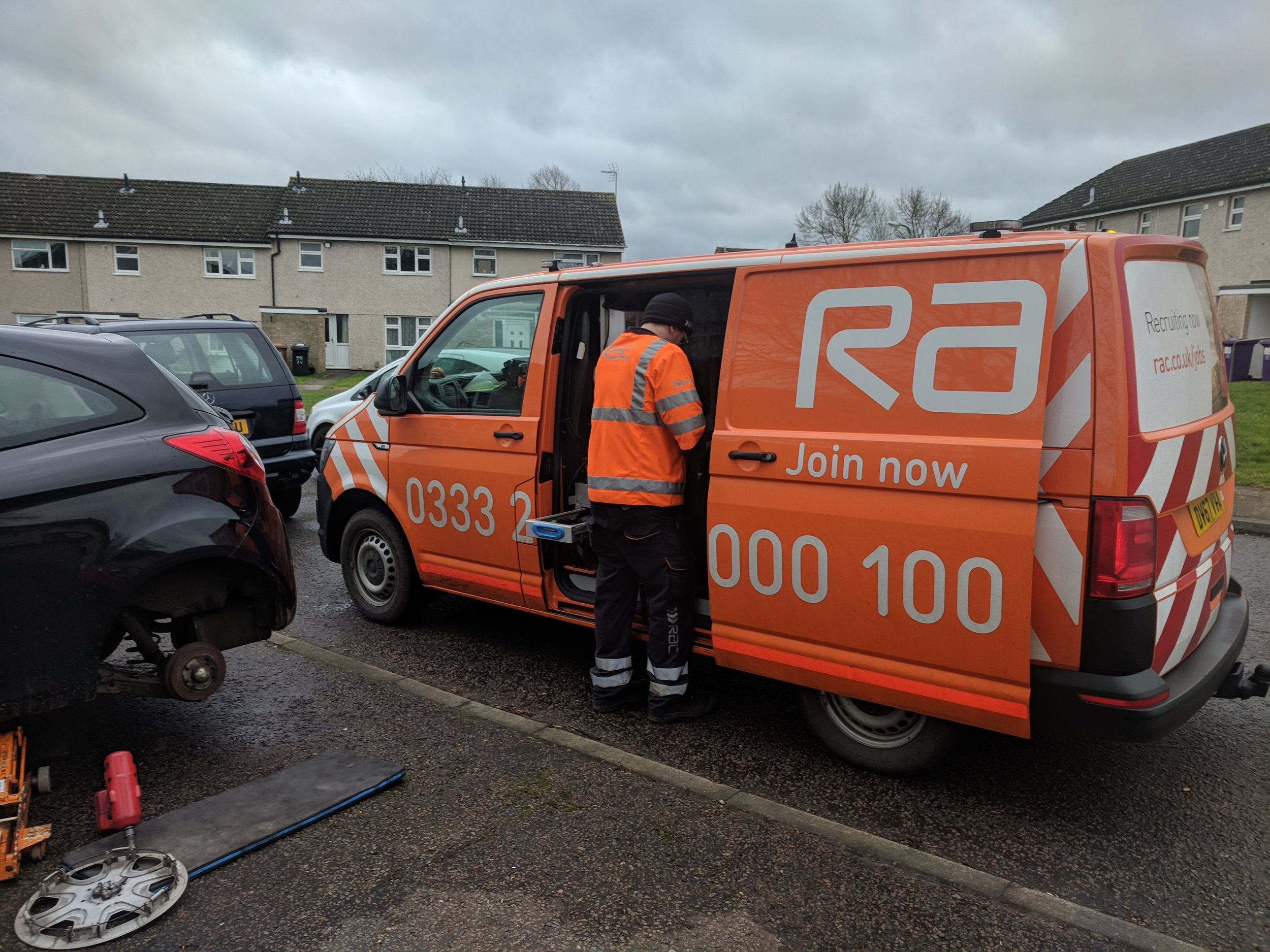 rac van by car with flat tyre