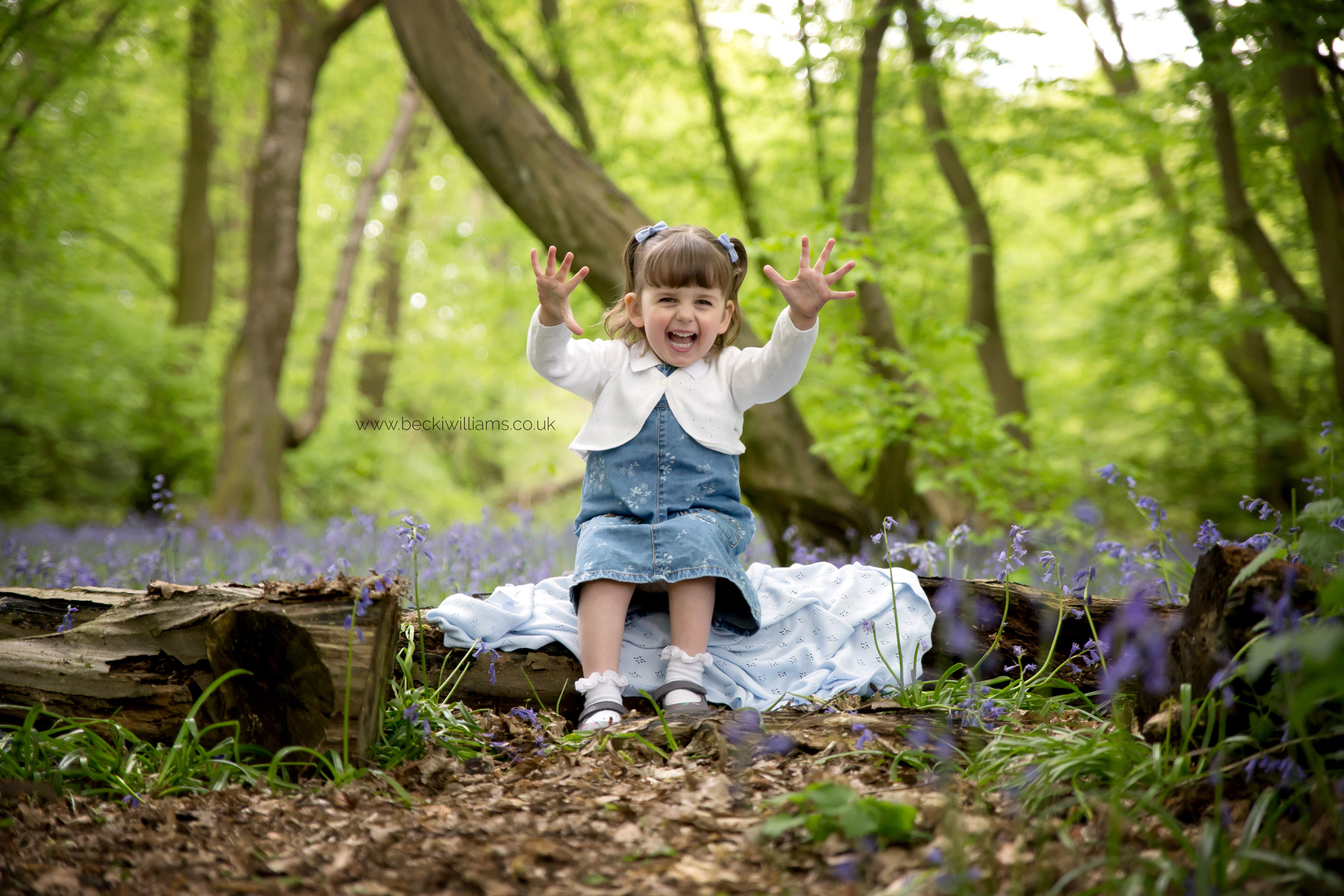 little girl, laughing with her hands in the air while sitting on a log in amongst the bluebells in st albans