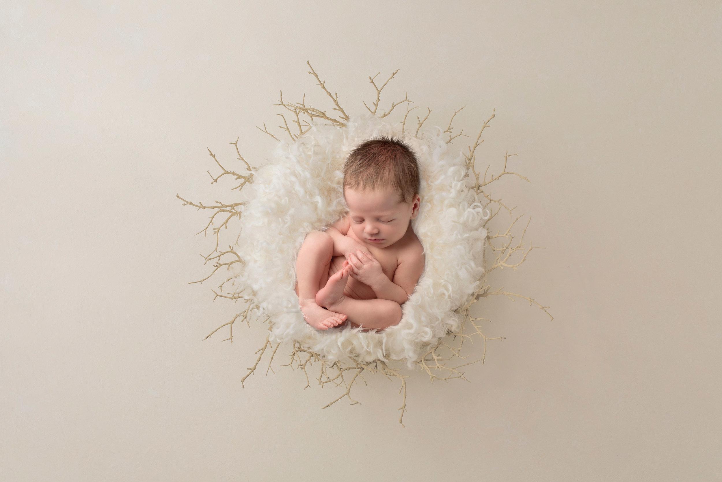 newborn boy lays asleep on white fluff inside a white twig bowl for his newborn photo shoot in hemel hempstead