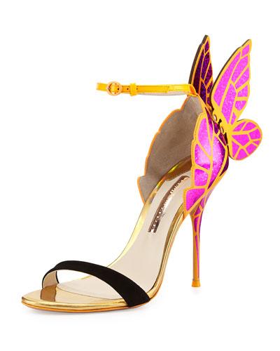 Sophia Webster Chiara Butterfly Wing Sandal, Fuchsia