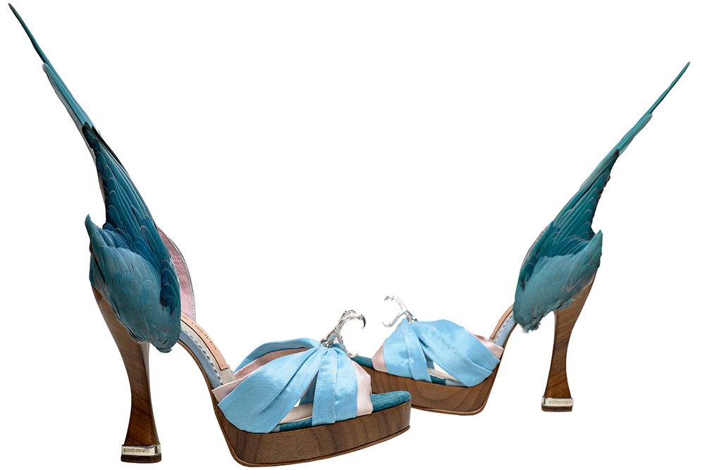 Caroline Groves (b.1959) 'Parakeet' shoes Leather, silk satin, solid silver talons and heel tips, and feathers England, 2014. Photography by Dan Lowe