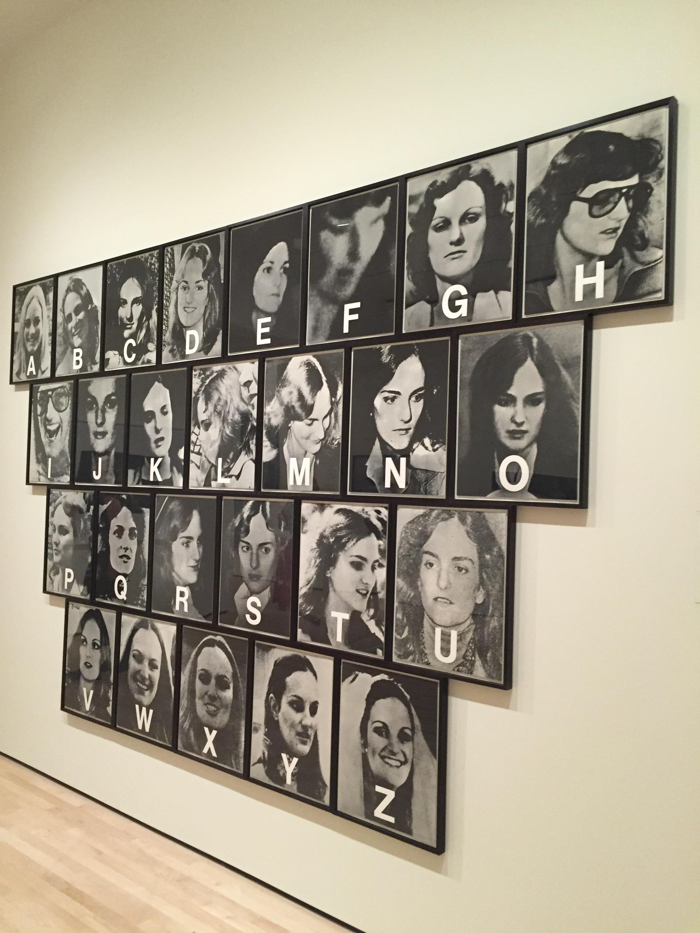 Dennis Adams'Patricia Hearst:A thru Z, 1979,installed at SF MoMA