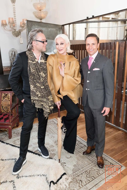 David Downton, Carmen Dell'orefice, Ken Fulk. Photo: Drew Altizer