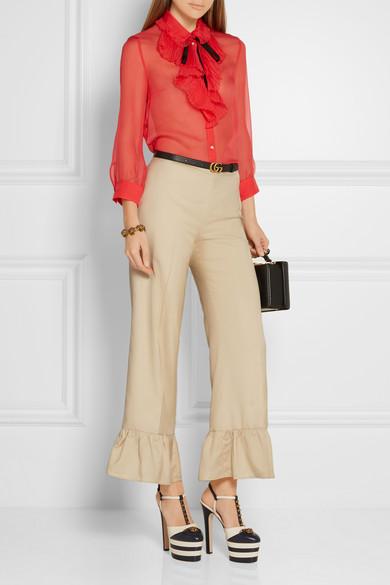 SHOP Gucci ruffle pants at  Net-A-Porter