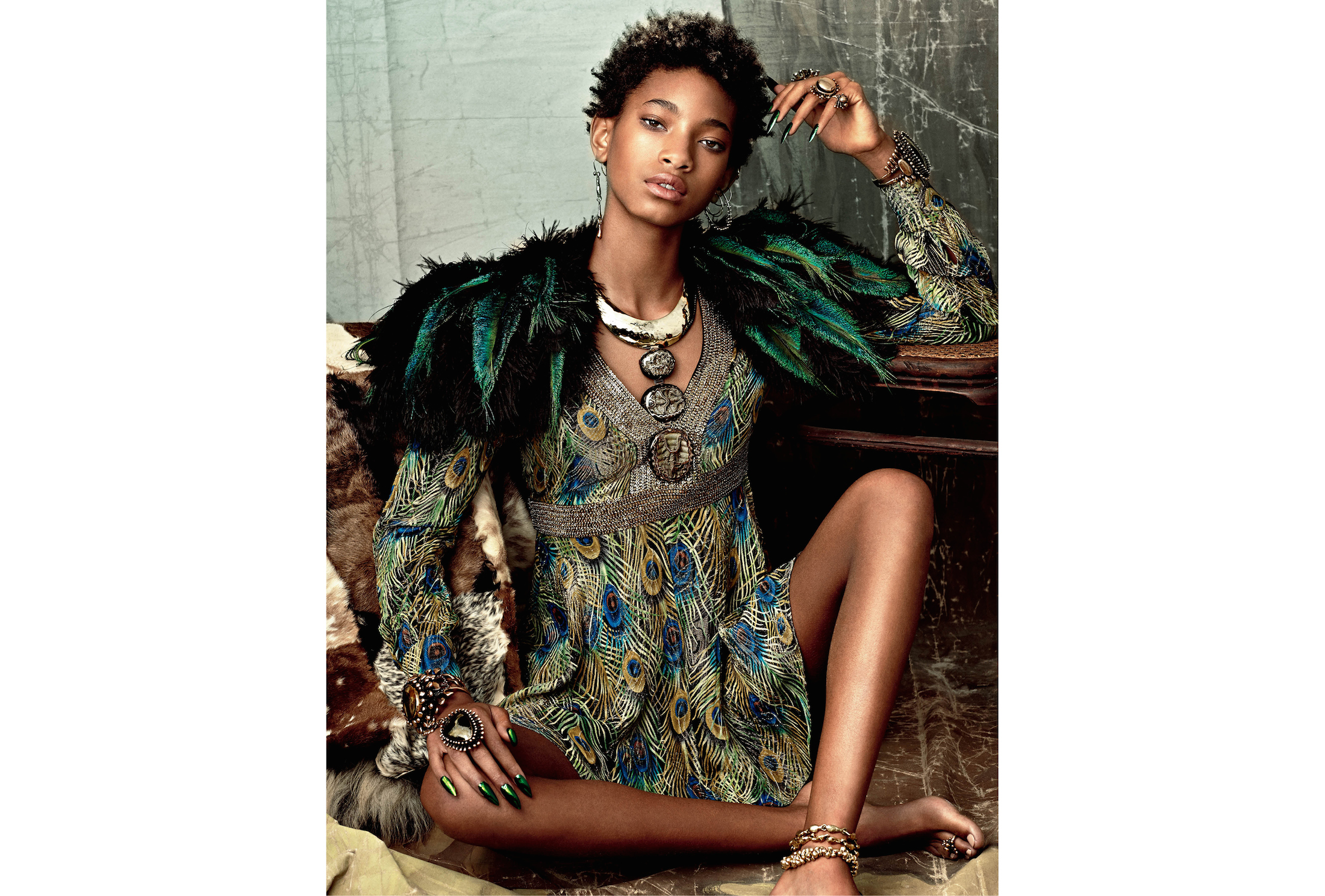 Willow Smith wears dress  Saint Laurent by Hedi Slimane , capelet Stacia Lang, jewelry (throughout) Lisa Eisner, ring (ring finger, her left) Lisa Eisner for  Tom Ford