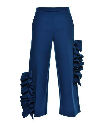 SHOP BLUE RUFFLED CREPE PANTS