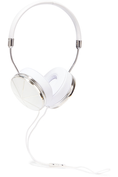 shop Frends Taylor leather and silver plated headphones