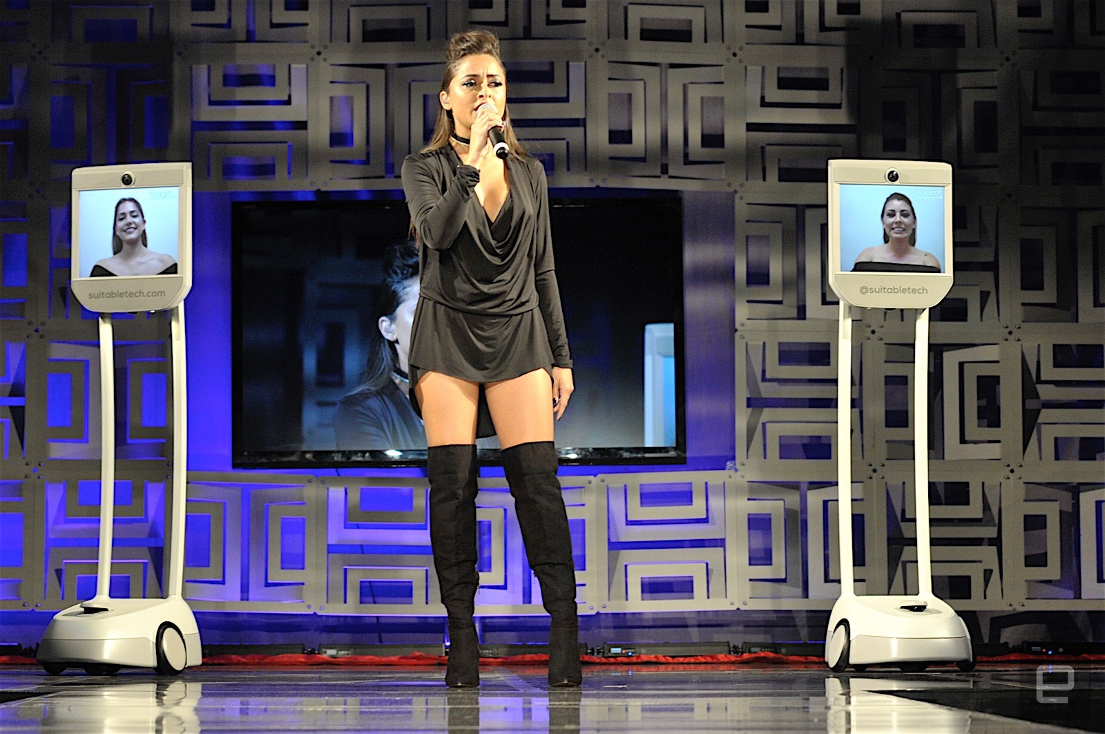 Singer Jasmin Cruz opened the second night with her hit single and backing vocals by two Beams telepresence robots from Suitable Technologies. Photo: Andrew Tarantola
