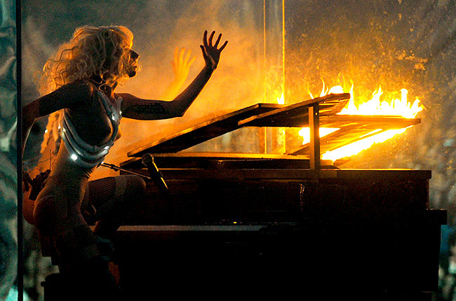 Lady Gaga in 2009  The ever dramatic Lady Gaga literally sets the show on fire at the 2009 American Music Awards.