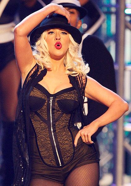 Christina Aguilera in 2008  Christina Aguilera performs in revealing black at the 2008 AMAs.