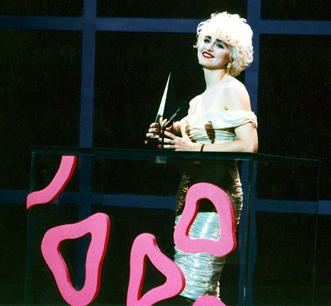 Madonna in 1987  A very blonde Madonna onstage at the 1987 American Music Awards.