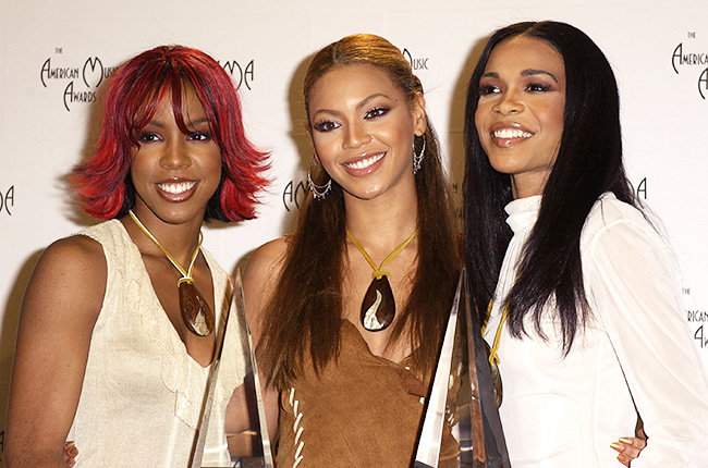 Destiny's Child in 2002  Destiny's Child smiled for the cameras in the press room at the 2002 American Music Awards.