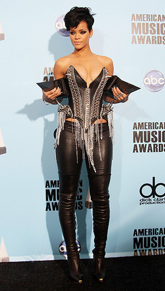 Rihanna in 2008  Rihanna showed off two of her assets - newly-won AMAs -- at the 2008 American Music Awards.