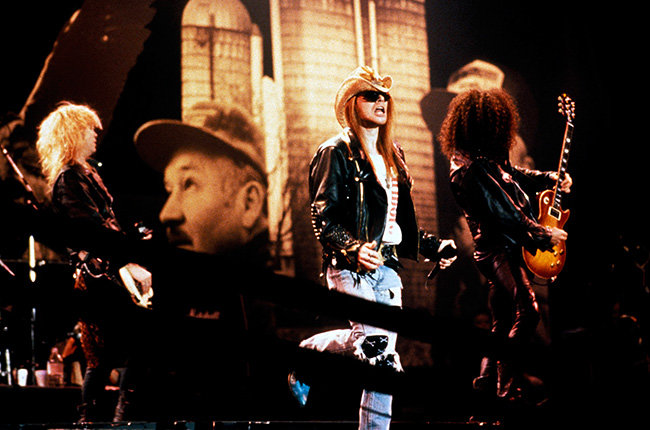 Guns N' Roses in 1990  Guns N' Roses rocked out on the 1990 American Music Awards show.
