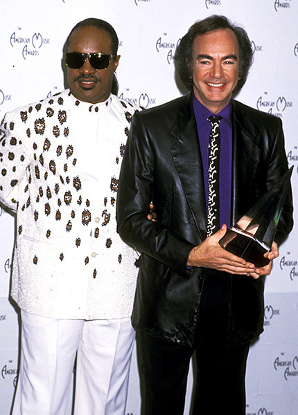 Stevie Wonder and Neil Diamon in 1990  Stevie Wonder and Neil Diamond posed together at the 1990 American Music Awards.