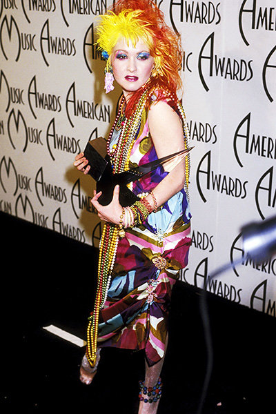 Cyndi Lauper in 1985  Cyndi Lauper gets colorful at the 1985 AMAs.