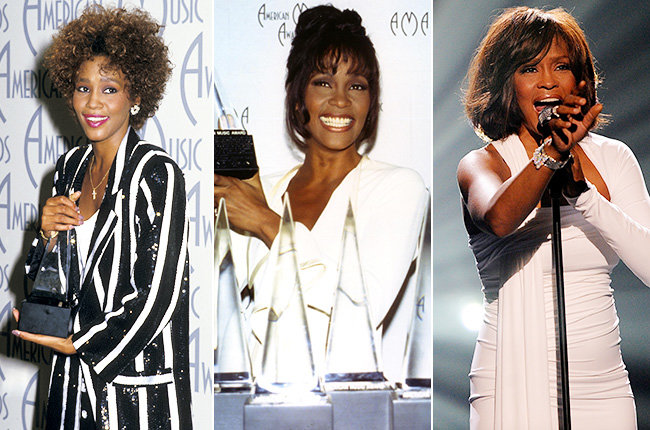 Whitney Houston's Many Appearances  Whitney Houston was an AMAs regular. Here the iconic singer appears at the 1986, 1994 and 2009 American Music Awards, respectively.