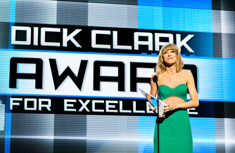 """Taylor Swift in 2014  While accepting the Dick Clark Award for Excellence in 2014, Taylor Swift once again stumped for paying artists for music. """"Music is valuable and music should be consumed in albums and albums should be consumed as art and appreciated,"""" she said."""