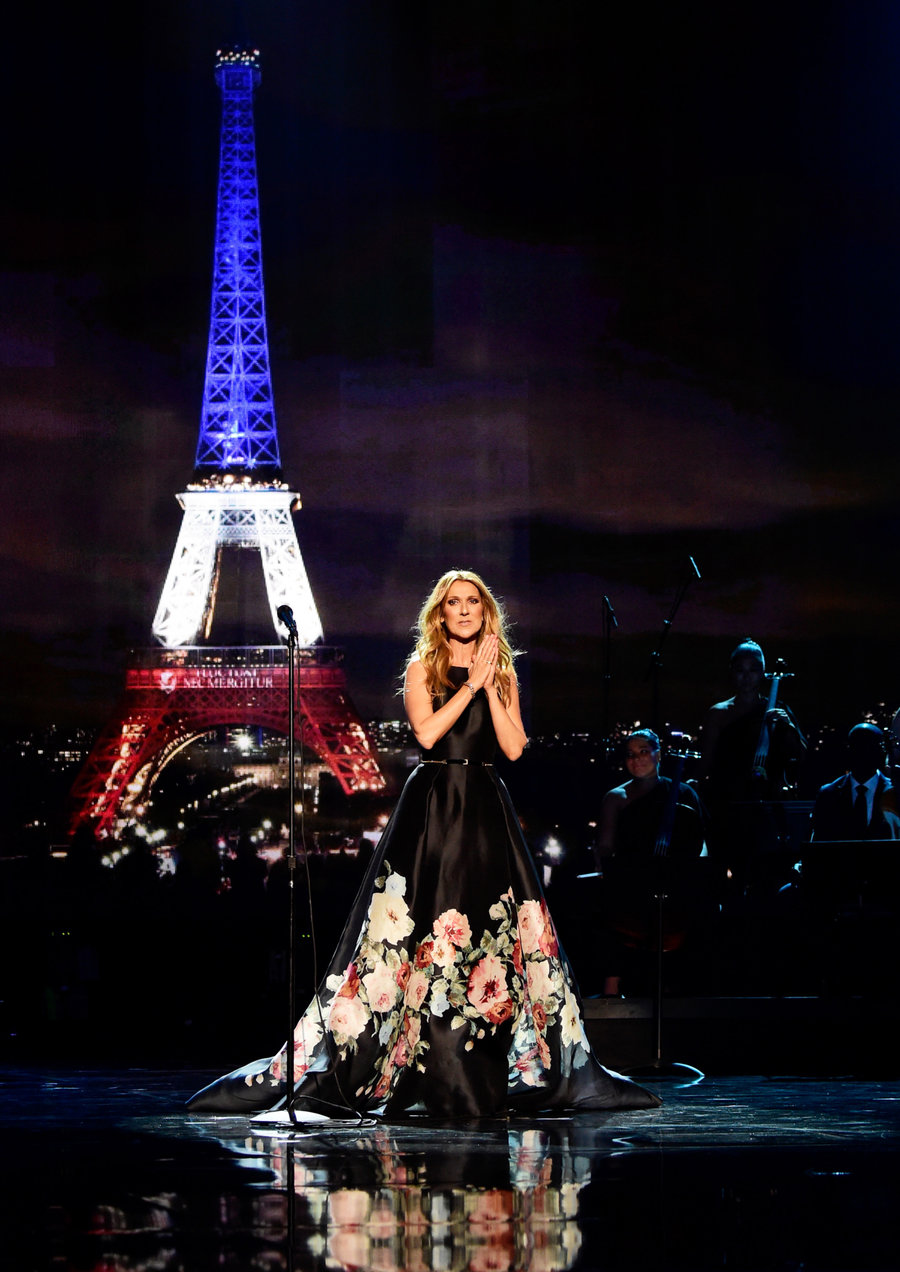 Celine Dion in 2015  The 2015 awards were held shortly after the shootings at the Bataclan theater in Paris. As a tribute, Celine Dion — with an introduction from Jared Leto — sang Hymne a L'Amour, honoring the city and the victims beautifully.