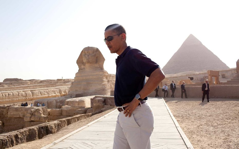 Great Sphinx in Giza, Egypt. Obama paid Egypt a one-day visit back in Summer 2009, but took some time to take in the incredible sights in Giza.
