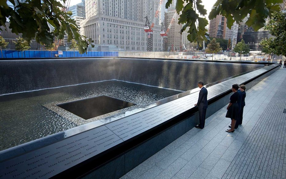 National September 11 Memorial, New York City  Obama takes a moment of reflection at the National September 11 Memorial and Museum.