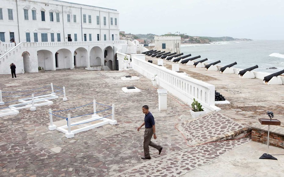 Cape Coast Castle, Ghana  The entire First Family toured the Cape Coast Castle in Ghana, before Obama gave a few remarks on the history of the centuries-old site.