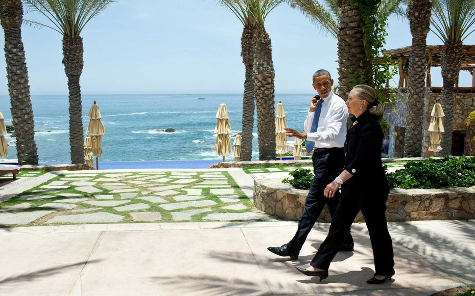 Esperanza Resort in San Jose del Cabo, Mexico  Obama takes a stroll with fellow presidential front-runner Hillary Clinton.