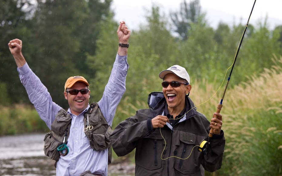 Montana  Obama tries his hand at fly fishing.