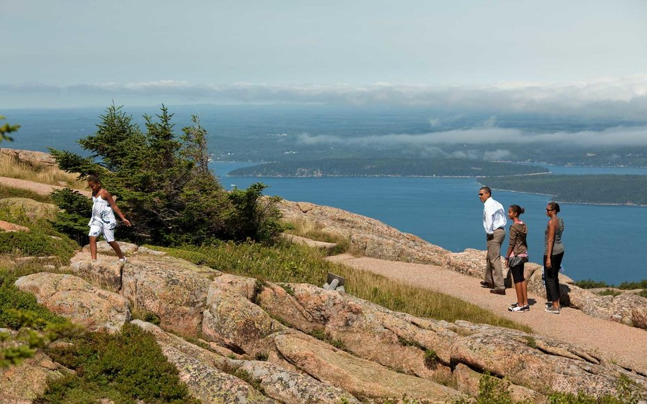 Acadia National Park, Maine  Obama hikes along Cadillac Mountain with his family at Acadia National Park in Maine.