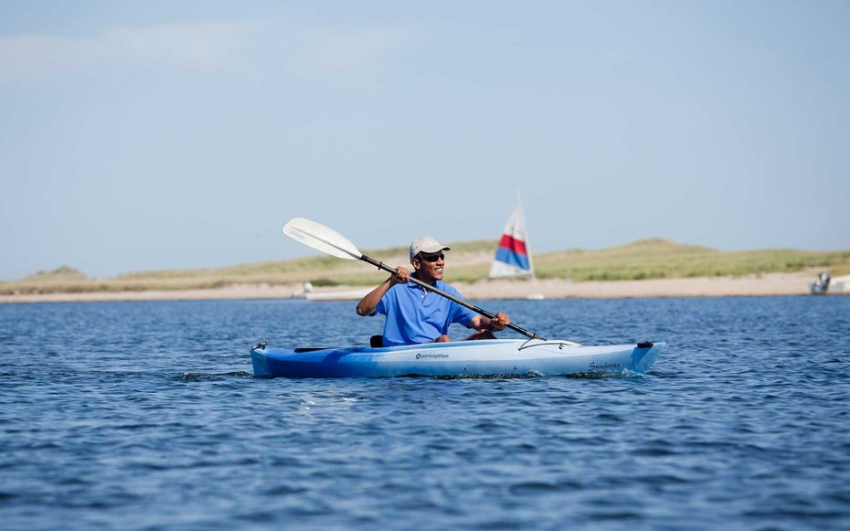 Edgartown, Massachusetts  Obama hits The Great Outdoors, taking some time to kayak while visiting Massachusetts.