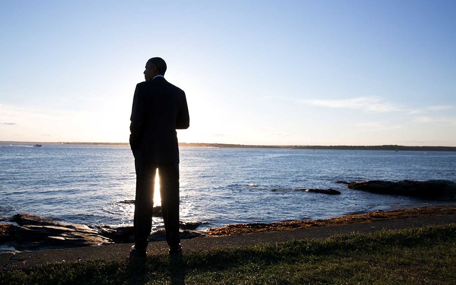 Newport, Rhode Island  Obama spent some time at Brenton Point in Newport, Rhode Island. White House Photographer Pete Souza named this as one of his favorite presidential photos of 2014.