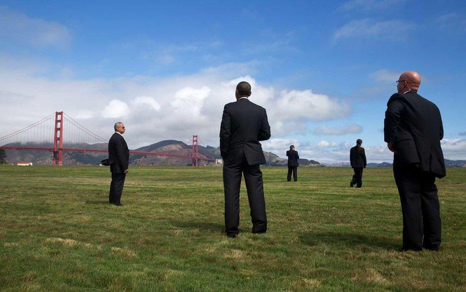 Golden Gate Bridge, San Francisco  Obama admires a lesser-seen angle of the Golden Gate Bridge from afar.