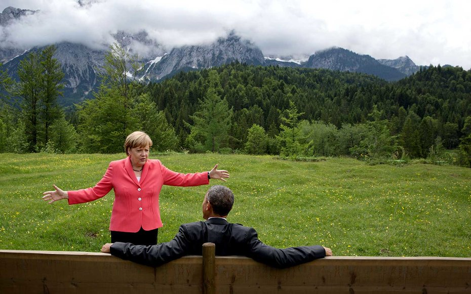 Krun, Germany  Angela Merkel joins Obama in what appears to be an intense conversation with the most scenic of views.