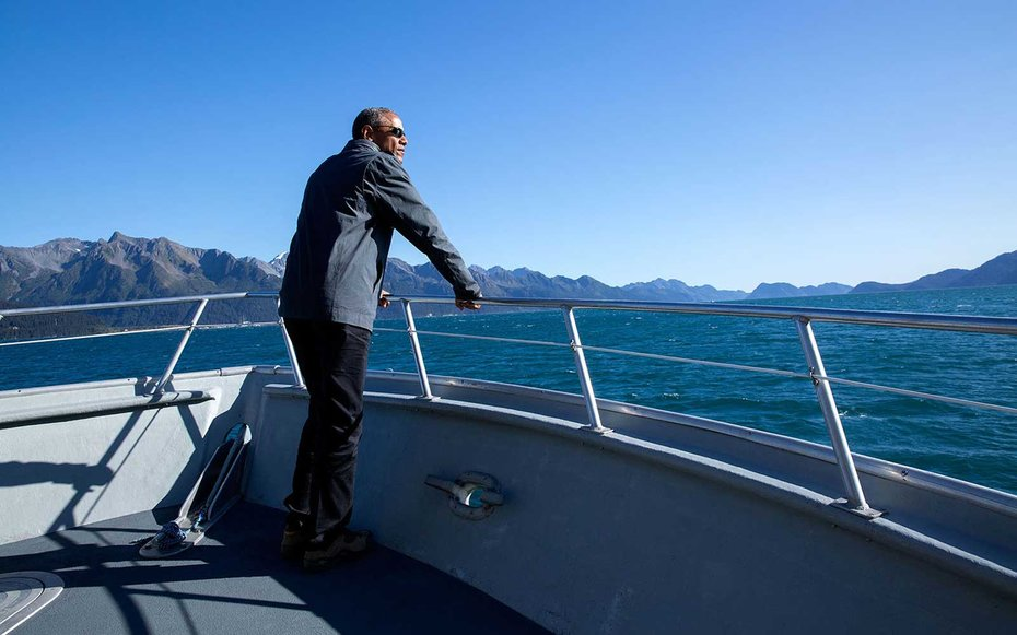 Kenai Fjords National Park, Alaska  Obama not only took in the sights of Kenai National Park by boat, but he also climbed a glacier during his visit.