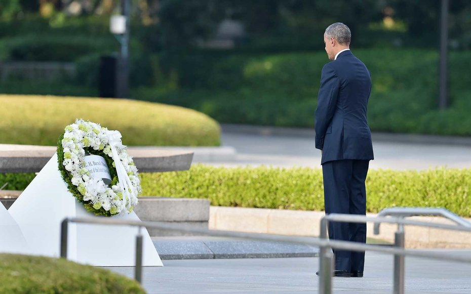 Hiroshima Memorial, Japan  On a visit in May 2016, Obama laid a wreath and took a moment of silence at the Hiroshima Peace Memorial in Japan.