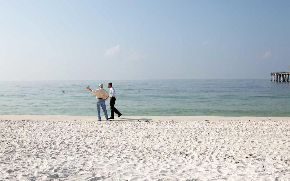 Pensacola, Florida  Even presidents like long walks on the beach.