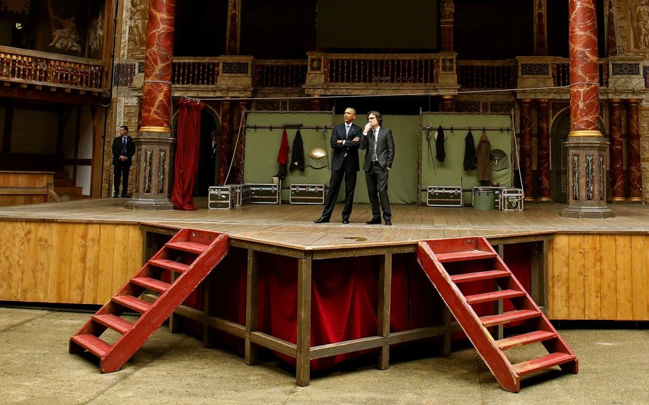 Globe Theater, London  Obama had the rare chance of experiencing the Globe Theater from the stage on a trip to London.