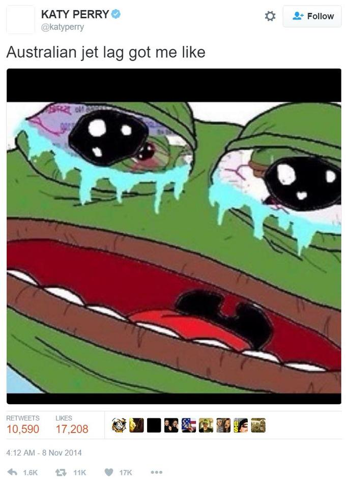 """On November 8th, 2014, Katy Perry tweeted a picture of Pepe crying with the caption """"Australian jet lag got me like"""". Over the next three years, the tweet received more than 17,000 likes and 10,500 retweets."""