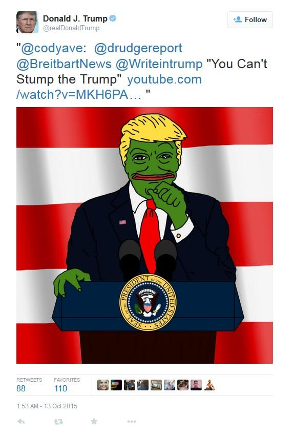 On October 13th, 2015, Donald Trump tweeted an illustration of Pepe as himself standing at a podium with the President of the United States Seal (shown below). Within 16 months, the post gathered upwards of 11,000 likes and 8,100 retweets.