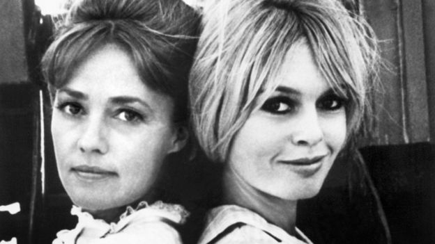 Moreau (left) and Brigitte Bardot starred in the comedy Viva Maria!, directed by Louis Malle