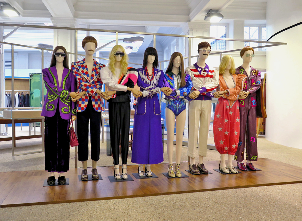 300 concerts around the world, ending in 2021.To celebrate this collaboration, Dover Street Market  is currently displaying eight  Gucci -wearing, Elton John -inspired mannequins, on the ground floor of the concept store from April 17.