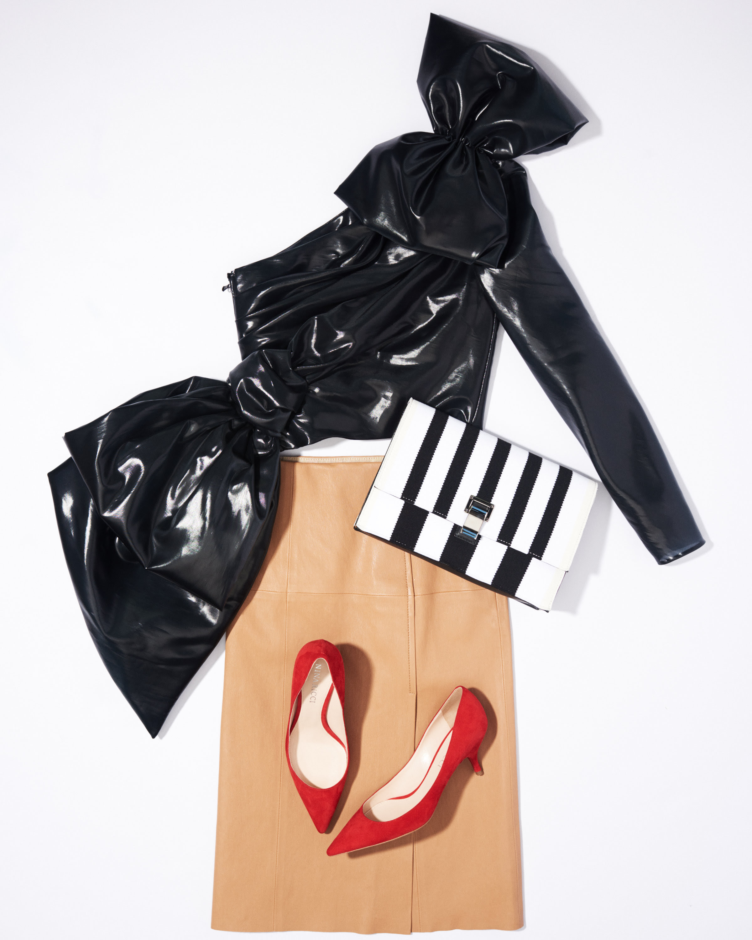 Moschino Bow Top $1,790 | Proenza Schouler Lunch Bag $ 850 | Joseph Skirt $1,145 | Nina Ricci Kitten Heel $560