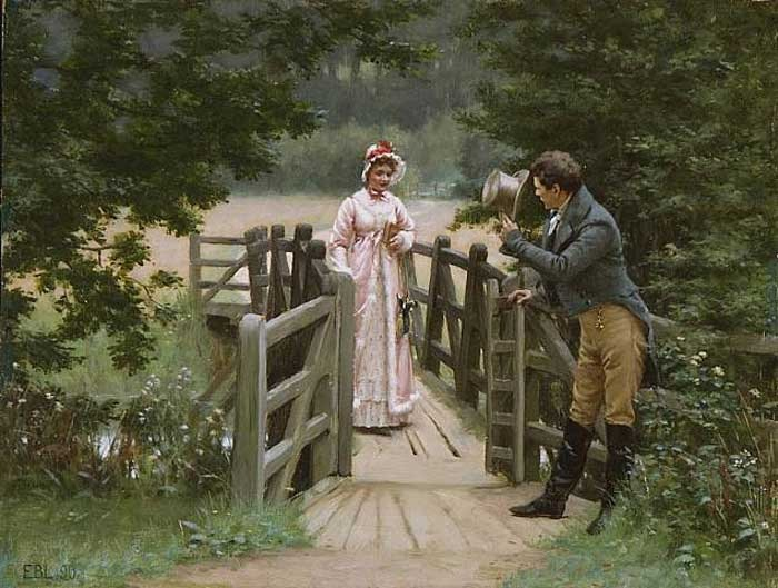 If a woman walked alone, the man would bow. If with someone else, you'd wait for her permission. Picture of Edmund Blair Leighton.