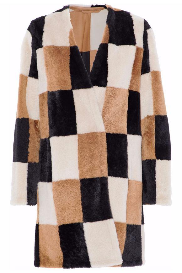 Max Mara Checked shearling coat